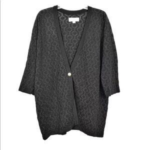 Calvin Klein Black Honeycomb Cardigan Sweater 1X
